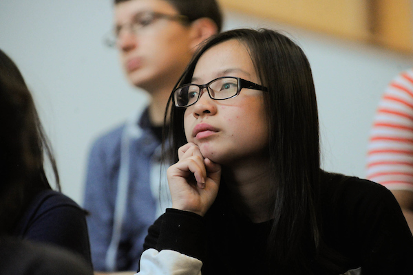 Student listening to a lecture.